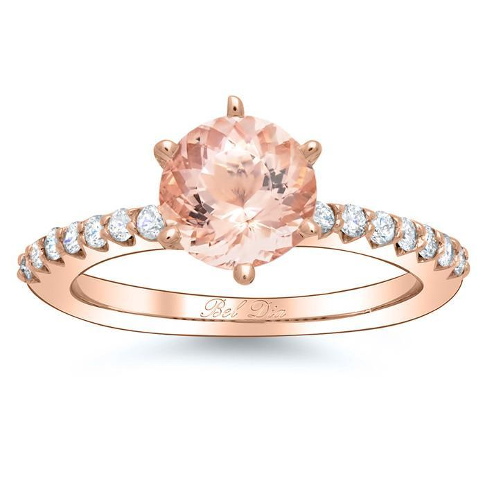 Morganite Pave Engagement Ring Rose Gold & Morganite Engagement Rings deBebians