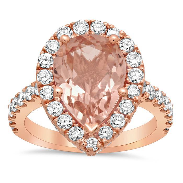 Morganite Pear Pave Halo Engagement Ring Rose Gold & Morganite Engagement Rings deBebians
