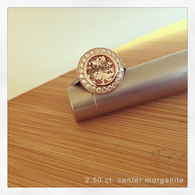 Morganite Rose Gold Bezel Style Halo Wedding Ring Rose Gold & Morganite Engagement Rings deBebians