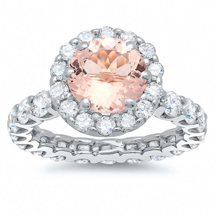 Morganite Rose Gold Eternity Engagement Ring Rose Gold & Morganite Engagement Rings deBebians