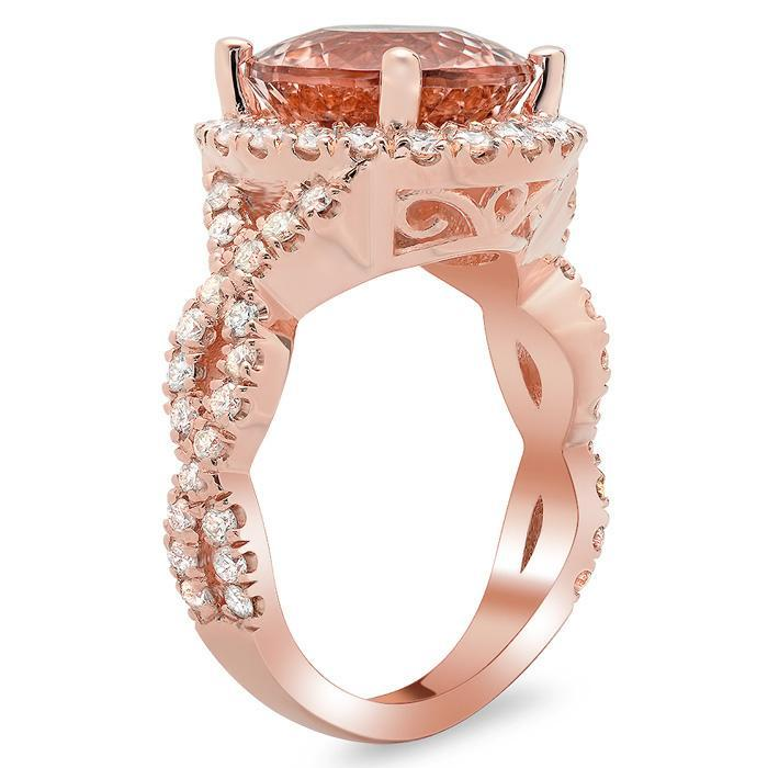 Morganite Rose Gold Halo Engagement Ring with Twisted Split Shank Rose Gold & Morganite Engagement Rings deBebians
