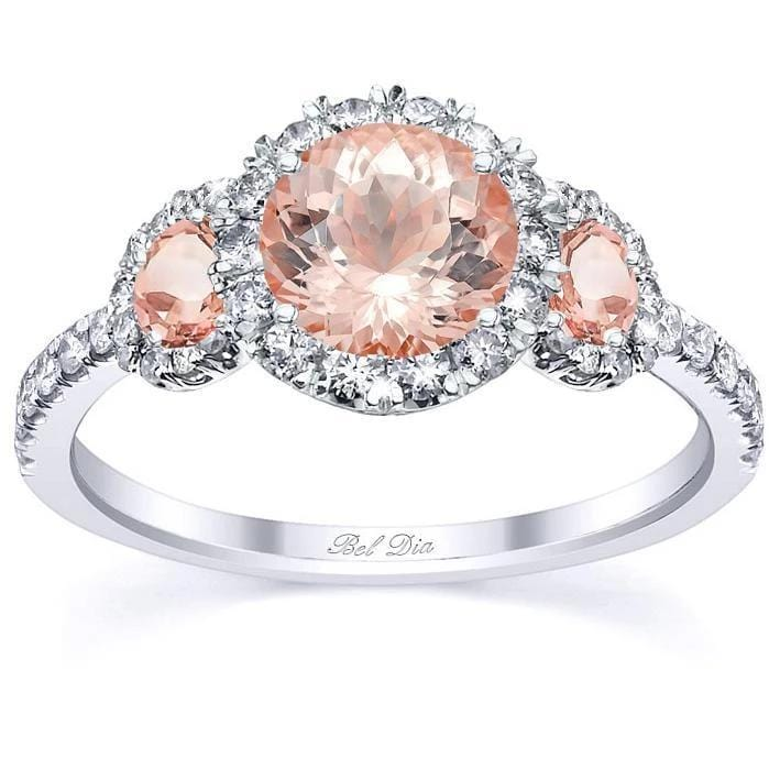 Morganite Rose Gold Halo Three Stone Ring Rose Gold & Morganite Engagement Rings deBebians