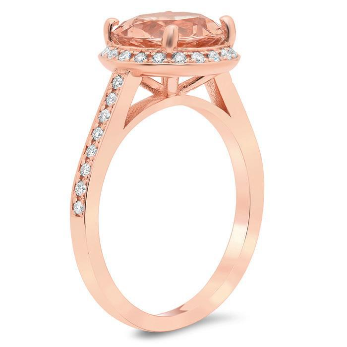 Morganite Round Engagement Ring with Halo Rose Gold & Morganite Engagement Rings deBebians
