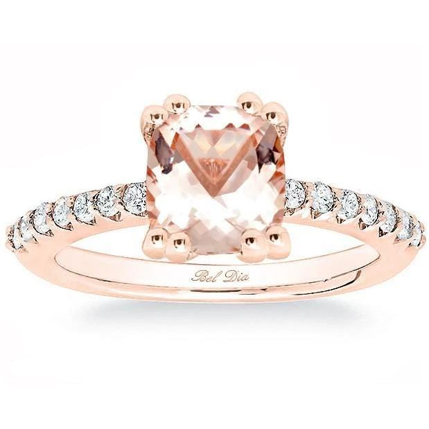 Morganite Square Pave Engagement Ring Rose Gold & Morganite Engagement Rings deBebians