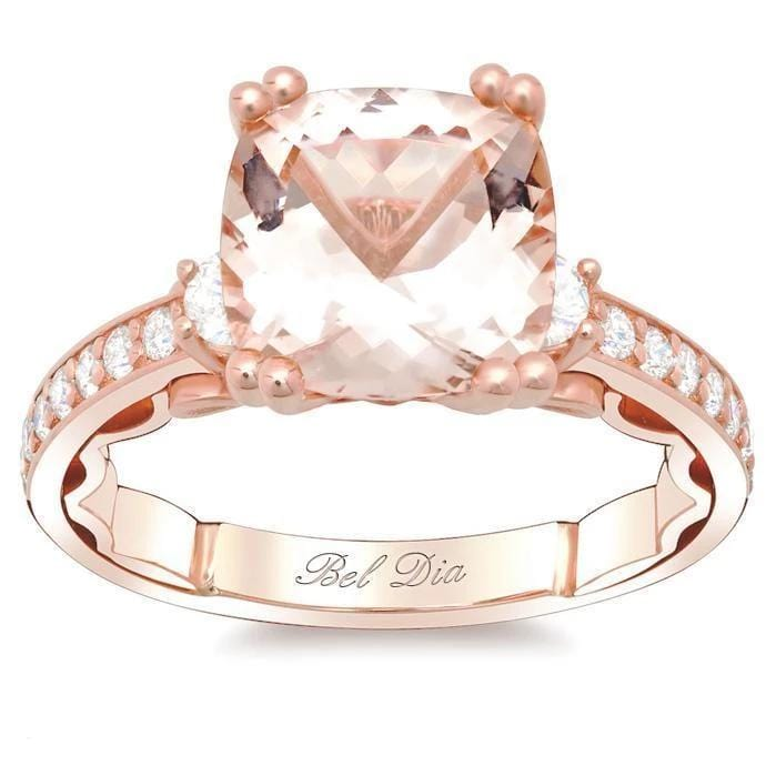 Morganite Three Stone Engagement Ring Rose Gold & Morganite Engagement Rings deBebians
