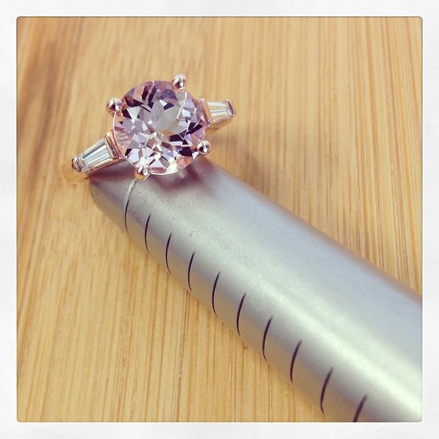 Morganite Three Stone Engagement Ring with Baguettes Rose Gold & Morganite Engagement Rings deBebians