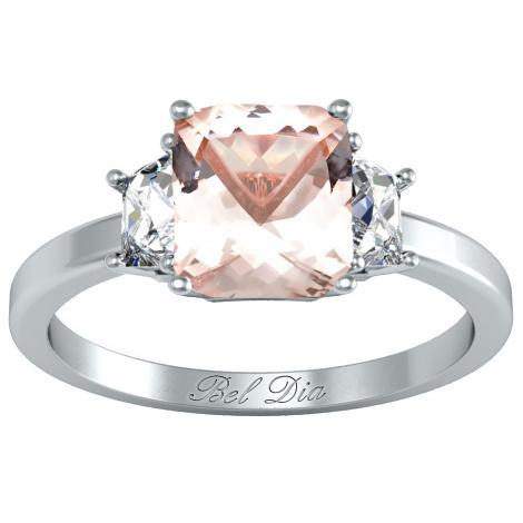 Morganite Three Stone Engagement Ring with Trapezoids Rose Gold & Morganite Engagement Rings deBebians