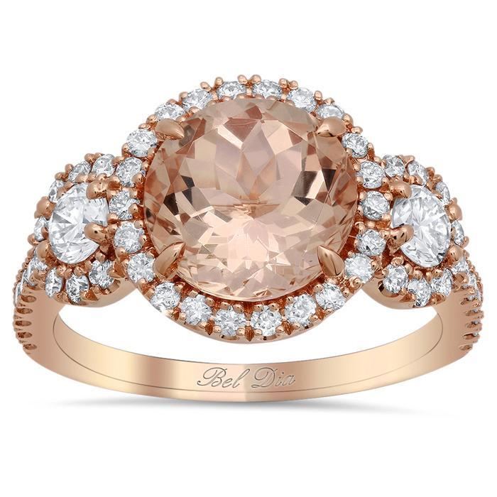 Morganite Three Stone Ring with Side Diamonds Rose Gold & Morganite Engagement Rings deBebians