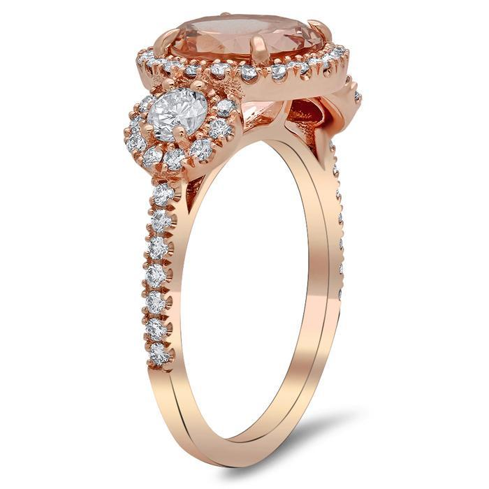 Morganite Three Stone Ring with Side Diamonds