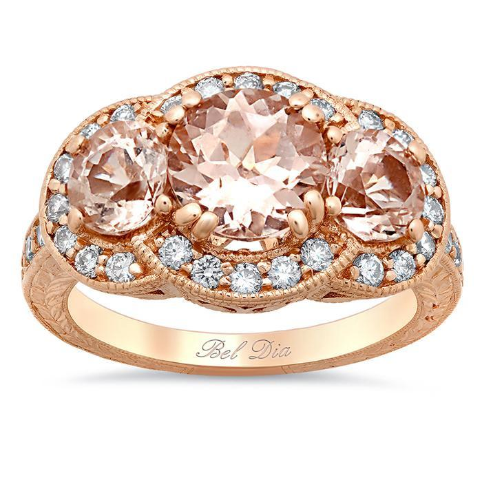 Morganite Three Stone Rose Gold Engagement Ring with Engraving and Milgrain Rose Gold & Morganite Engagement Rings deBebians