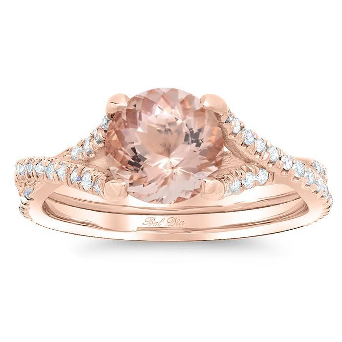 Morganite Twisted Double Shank Engagement Ring Rose Gold & Morganite Engagement Rings deBebians