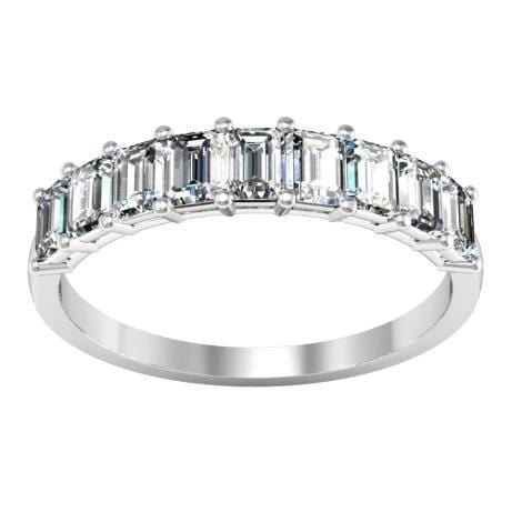 Nine Diamond Ring with Asscher or Emerald Diamond Wedding Rings debebians