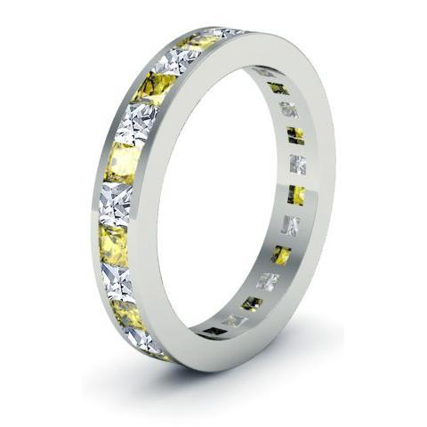 November Birthstone Ring with Diamonds and Yellow Sapphires Gemstone Eternity Rings deBebians