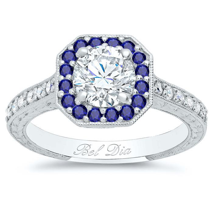 Octagon Diamond Engagement Ring With Sapphire Accent Halo