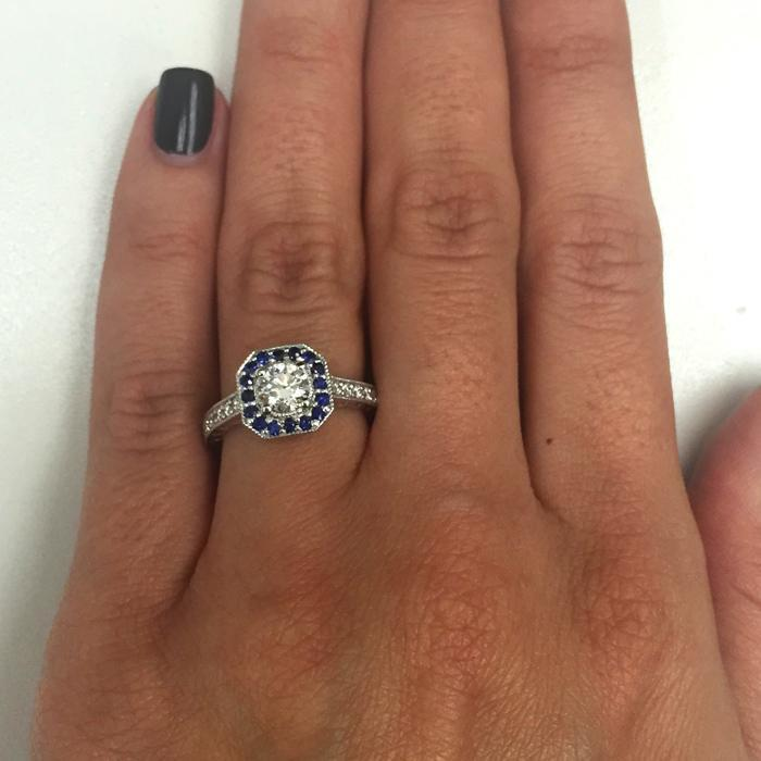 Octagonal Engagement Ring with Sapphire Halo and Diamond Accents Sapphire Engagement Rings deBebians