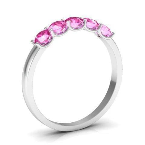 0.50cttw U Prong Pink Sapphire Five Stone Band Five Stone Rings deBebians
