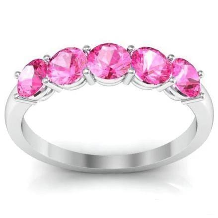 1.00cttw Shared Prong Pink Sapphire Five Stone Ring Five Stone Rings deBebians