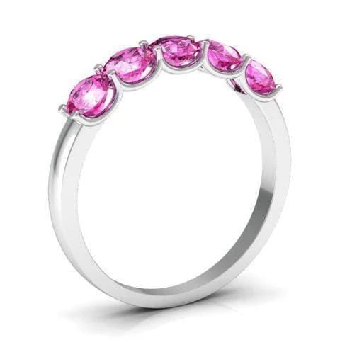 1.00cttw U Prong Pink Sapphire Five Stone Band Five Stone Rings deBebians