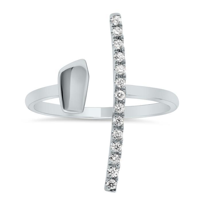 Open T-Bar Ring Diamond Wedding Rings deBebians
