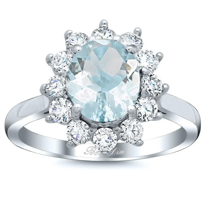 Oval Aquamarine Floral Halo Diamond Engagement Ring Aquamarine Engagement Rings deBebians