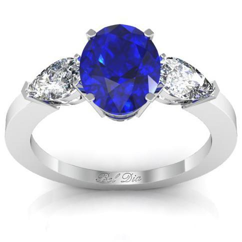 Oval Blue Sapphire Three Stone Engagement Ring Sapphire Engagement Rings deBebians