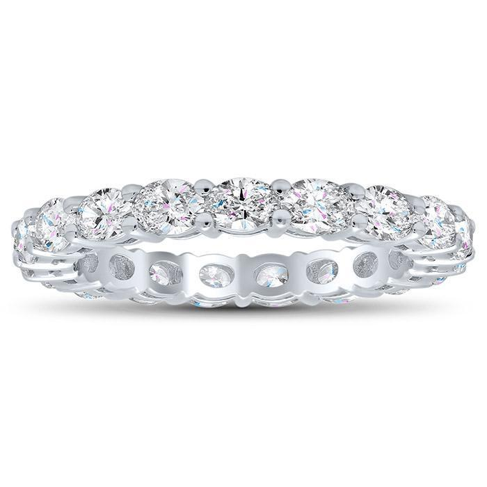Oval Shared Prong Diamond Eternity Band - 1.90 carat Diamond Eternity Rings deBebians