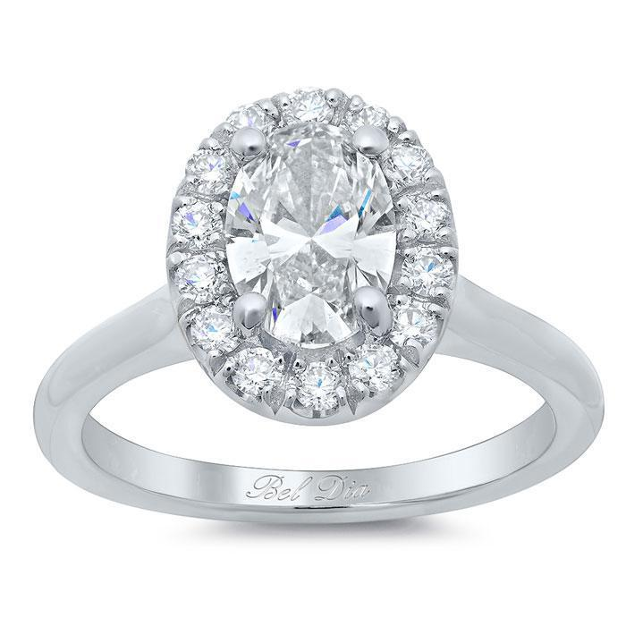 Halo Ring Setting for an Oval Diamond or Moissanite Halo Engagement Rings deBebians