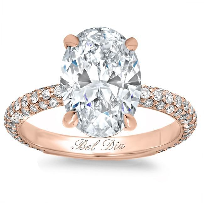 Oval Diamond Engagement Ring with Domed Pave Band Diamond Accented Engagement Rings deBebians