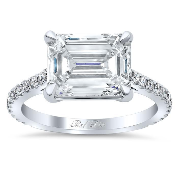 East West Engagement Ring Diamond Accented Engagement Rings deBebians