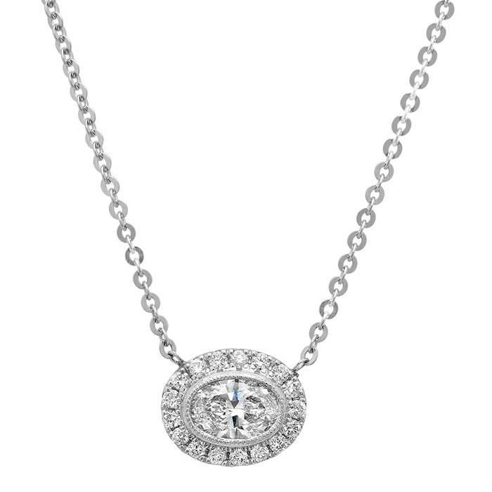 Oval Forever One Moissanite East West Halo Necklace Moissanite Necklaces deBebians