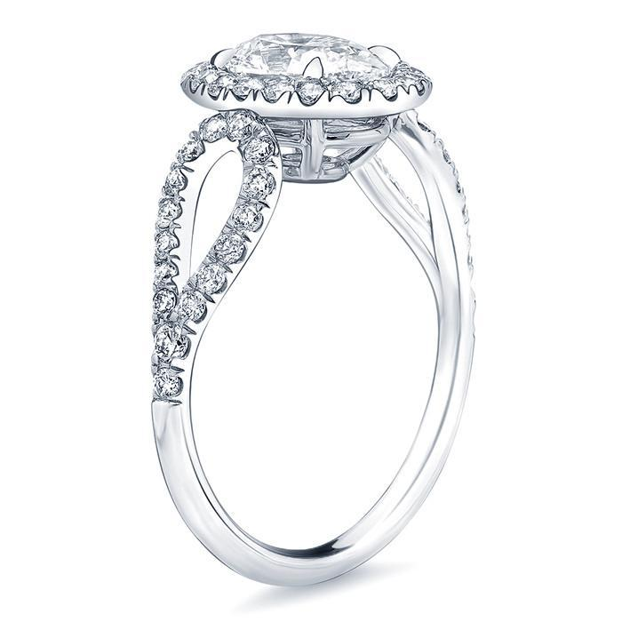Oval Halo Engagement Ring with Looped Shank Halo Engagement Rings deBebians