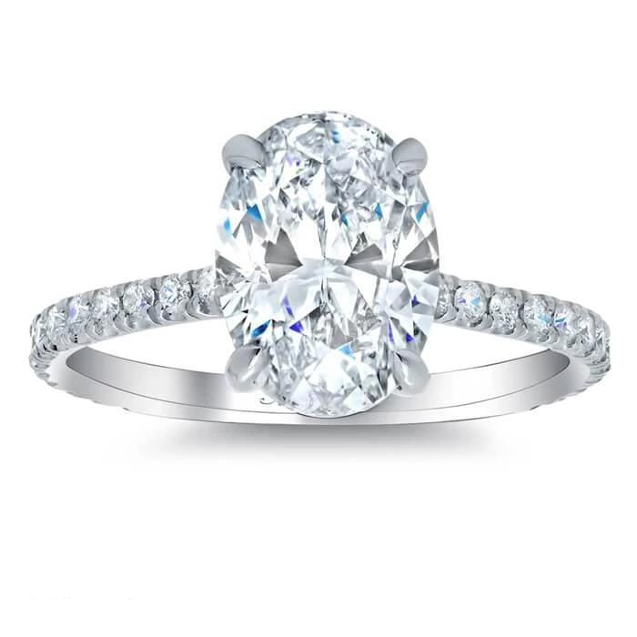 Tapered Asymmetrical Three Stone Engagement Ring