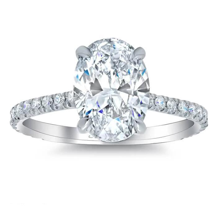 Oval Forever One Moissanite Pave Engagement Ring Moissanite Engagement Rings deBebians