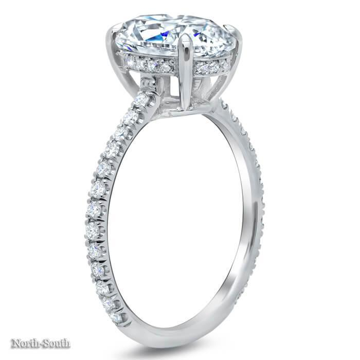 Oval Pave Engagement Ring Diamond Accented Engagement Rings deBebians