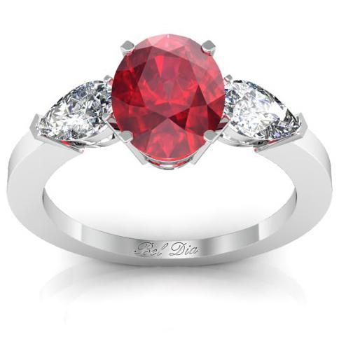 Oval Ruby Three Stone Engagement Ring Ruby Engagement Rings deBebians