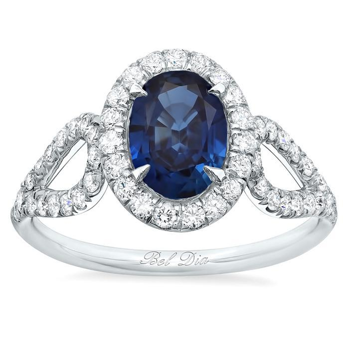 Oval Sapphire Halo Engagement Ring with Looped Shank Sapphire Engagement Rings deBebians