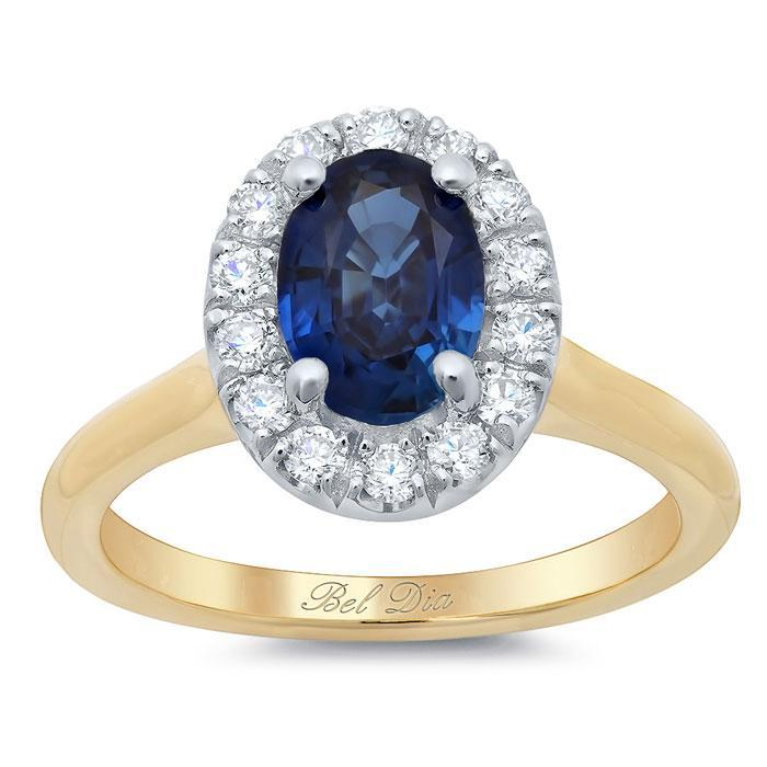 Oval Sapphire Halo Engagement Ring with Plain Band Sapphire Engagement Rings deBebians