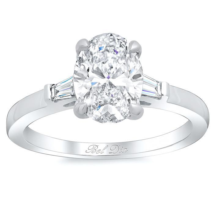 Oval Three Stone Engagement Ring with Baguettes Diamond Accented Engagement Rings deBebians