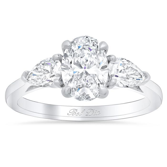 Oval Three Stone Ring with Pears Diamond Accented Engagement Rings deBebians