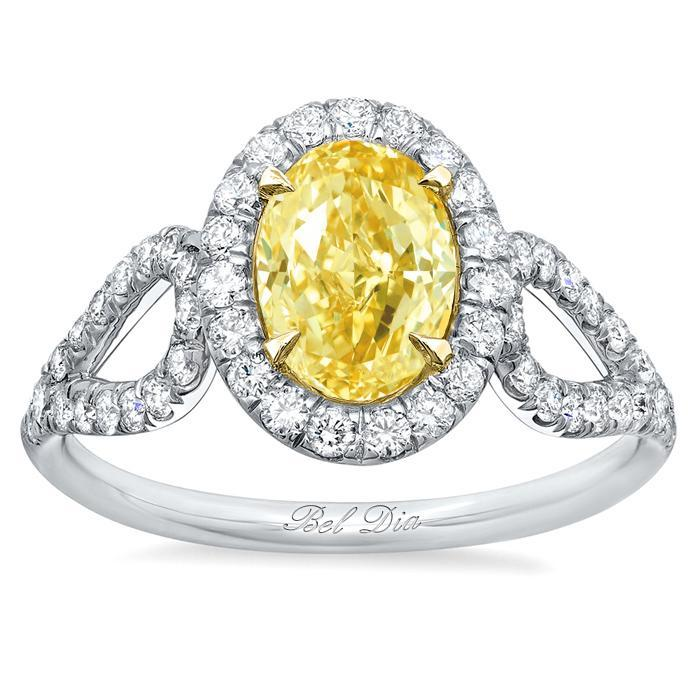 Oval Yellow Diamond Engagement Ring with Looped Shank Yellow Diamond Engagement Rings deBebians