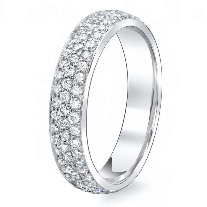 Three Row Pave Set Diamond Eternity Band - 1.70 carat - SI Clarity Diamond Eternity Rings deBebians