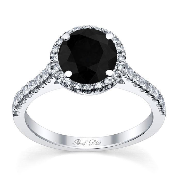 Pave Accented Black Diamond Halo Black Diamond Engagement Rings deBebians