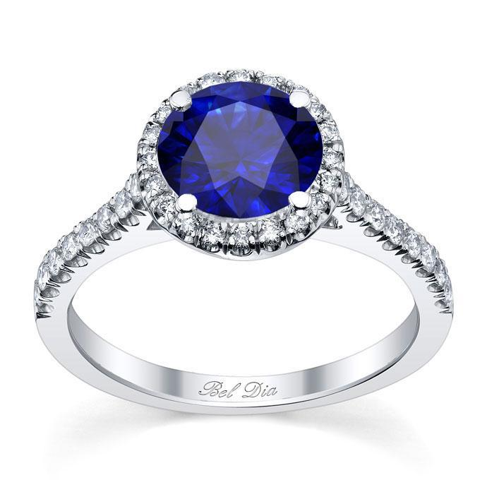 Pave Accented Blue Sapphire Halo Sapphire Engagement Rings deBebians