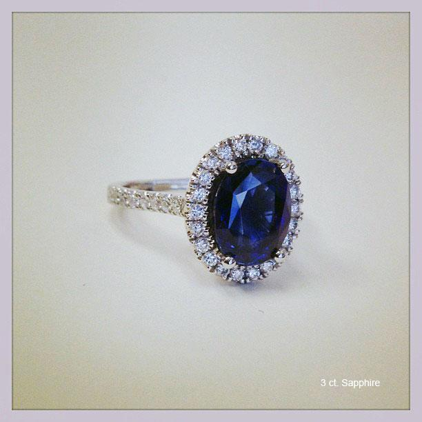 Pave Accented Oval Blue Sapphire Halo Sapphire Engagement Rings deBebians