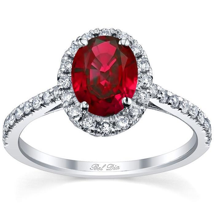 Pave Accented Oval Ruby Halo Ruby Engagement Rings deBebians