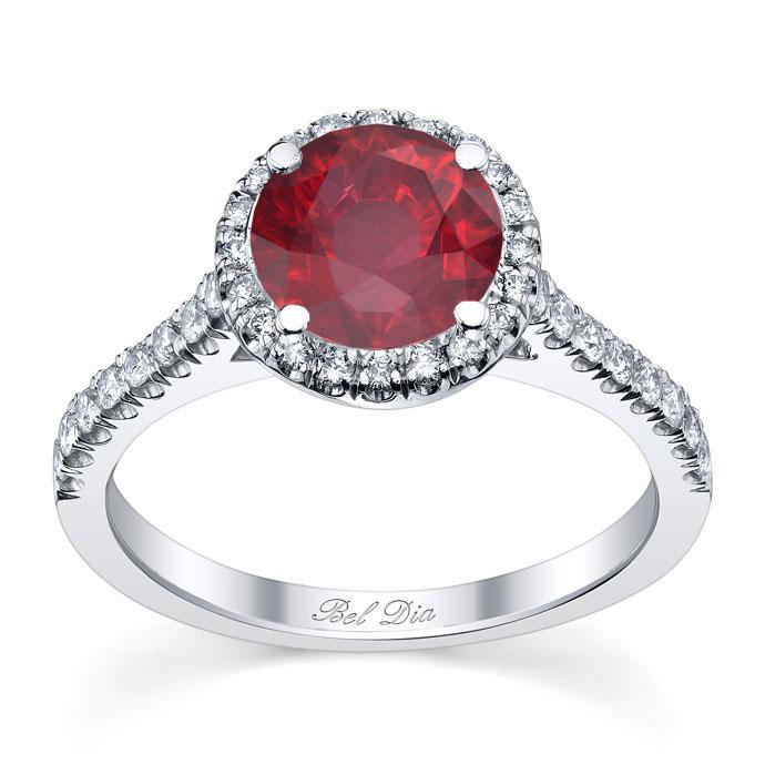 Pave Accented Ruby Halo Ruby Engagement Rings deBebians