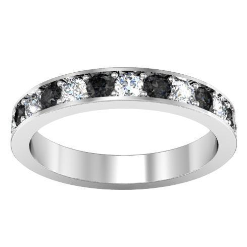 Pave Alternating Black and White Diamond Eternity Band (1.30 cttw) Gemstone Eternity Rings deBebians