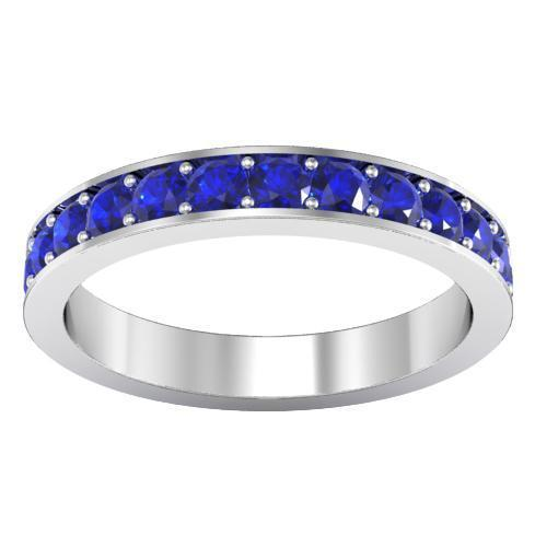 Pave Blue Sapphire Eternity Ring (1.30 cttw) Gemstone Eternity Rings deBebians