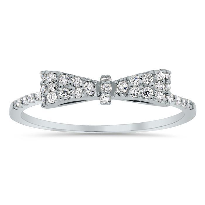 Pave Diamond Bow Ring Diamond Wedding Rings deBebians