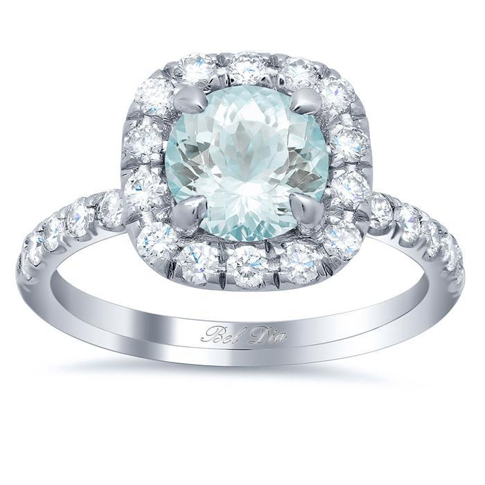 Pave Diamond Cushion Halo Engagement Ring for Round Aquamarine Aquamarine Engagement Rings deBebians